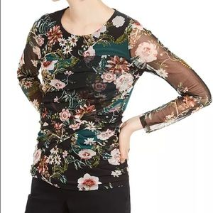 NWT INC Floral-Print Ruched Top size medium